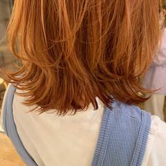 ナチュラル レイヤーカット ボブ オレンジカラー ヘアスタイルや髪型の写真・画像