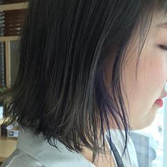 アッシュ ストリート ブルー インナーカラー ヘアスタイルや髪型の写真・画像