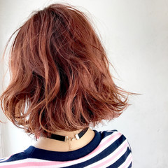 ボブ ピンク オレンジ アプリコットオレンジ ヘアスタイルや髪型の写真・画像