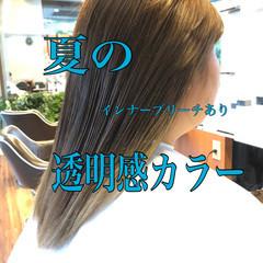 アッシュベージュ 透明感カラー インナーカラー 切りっぱなしボブ ヘアスタイルや髪型の写真・画像