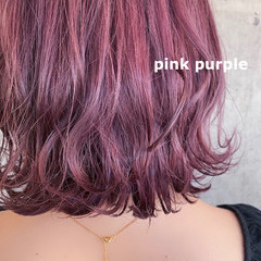 ブリーチカラー 韓国ヘア ダブルカラー ピンクパープル ヘアスタイルや髪型の写真・画像