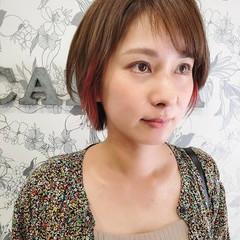 ハンサムショート ピンクラベンダー ショートヘア ショートボブ ヘアスタイルや髪型の写真・画像