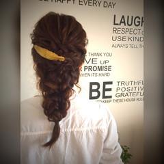 大人かわいい 編み込み ヘアアレンジ セミロング ヘアスタイルや髪型の写真・画像