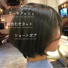 オリーブアッシュ ショートボブ ナチュラル ショート ヘアスタイルや髪型の写真・画像