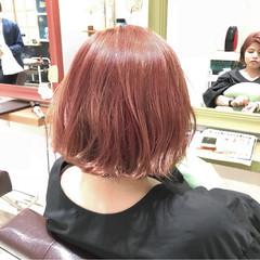 ボブ オレンジベージュ ピンク ダブルカラー ヘアスタイルや髪型の写真・画像