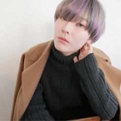 モード ショート インナーカラー ハイトーン ヘアスタイルや髪型の写真・画像