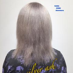 外国人風 モード セミロング シルバーアッシュ ヘアスタイルや髪型の写真・画像