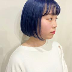 ストリート ボブ ネイビーカラー ネイビー ヘアスタイルや髪型の写真・画像