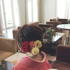 セミロング ヘアアレンジ 上品 編み込み ヘアスタイルや髪型の写真・画像