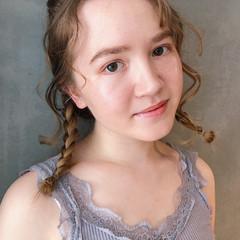 ミディアム ゆるふわ 簡単ヘアアレンジ 編み込み ヘアスタイルや髪型の写真・画像