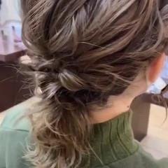 ミディアム ナチュラル デート ヘアアレンジ ヘアスタイルや髪型の写真・画像
