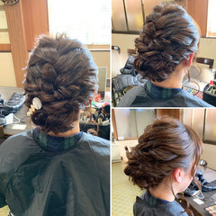 ヘアアレンジ セミロング ナチュラル 結婚式 ヘアスタイルや髪型の写真・画像