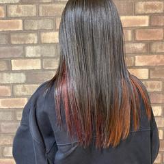 オレンジ セミロング ナチュラル イルミナカラー ヘアスタイルや髪型の写真・画像