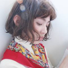 ウェーブ ボブ パーマ 外国人風 ヘアスタイルや髪型の写真・画像