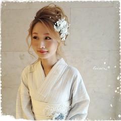 ヘアセット フェミニン 着物 ロング ヘアスタイルや髪型の写真・画像