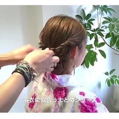 ヘアアレンジ 花火大会 夏 フェミニン ヘアスタイルや髪型の写真・画像