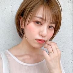 丸みショート 小顔ヘア 透明感カラー ナチュラル ヘアスタイルや髪型の写真・画像
