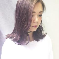 ピンク 外国人風 アッシュバイオレット グラデーションカラー ヘアスタイルや髪型の写真・画像