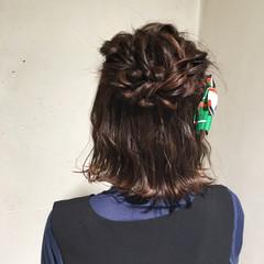 ガーリー 結婚式 ボブ 編み込み ヘアスタイルや髪型の写真・画像