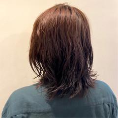 パーマ 大人ミディアム モード セミディ ヘアスタイルや髪型の写真・画像