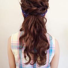 ハーフアップ ヘアアレンジ ショート ゆるふわ ヘアスタイルや髪型の写真・画像