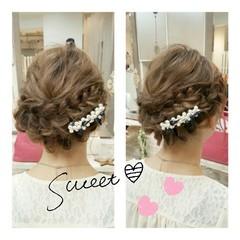 大人かわいい セミロング ヘアアレンジ 結婚式 ヘアスタイルや髪型の写真・画像