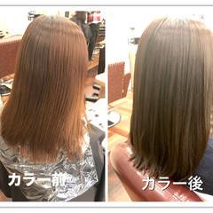 ナチュラル 外国人風カラー グレージュ セミロング ヘアスタイルや髪型の写真・画像