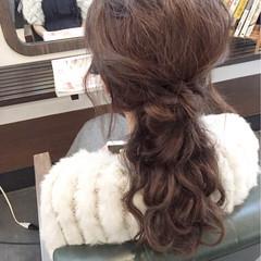 結婚式 編み込み セミロング 簡単ヘアアレンジ ヘアスタイルや髪型の写真・画像