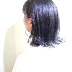 ボブ 外ハネ ピュア ワイドバング ヘアスタイルや髪型の写真・画像