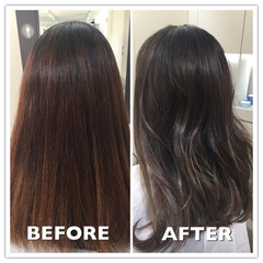グラデーションカラー 透明感 秋 暗髪 ヘアスタイルや髪型の写真・画像