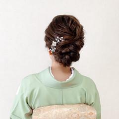 着物 ミディアム シニヨン 訪問着 ヘアスタイルや髪型の写真・画像