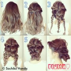 三つ編み モード 時短 簡単ヘアアレンジ ヘアスタイルや髪型の写真・画像