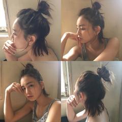 お団子 ハーフアップ ショート 簡単ヘアアレンジ ヘアスタイルや髪型の写真・画像