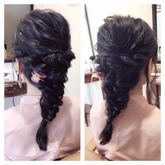 大人女子 ハーフアップ 黒髪 ヘアアレンジ ヘアスタイルや髪型の写真・画像