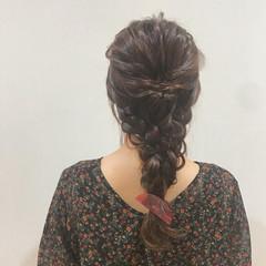 編みおろし 三つ編み 簡単ヘアアレンジ デート ヘアスタイルや髪型の写真・画像