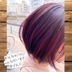 ラベンダーピンク デート ショート モテ髪 ヘアスタイルや髪型の写真・画像