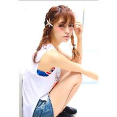ヘアアレンジ ショート セミロング 夏 ヘアスタイルや髪型の写真・画像