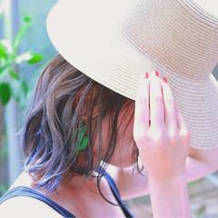 外国人風 ネイビー ストリート 外ハネ ヘアスタイルや髪型の写真・画像