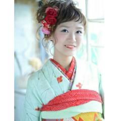 成人式 着物 ガーリー セミロング ヘアスタイルや髪型の写真・画像