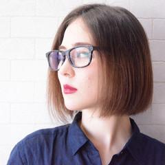 ナチュラル ボブ 美髪 オフィス ヘアスタイルや髪型の写真・画像