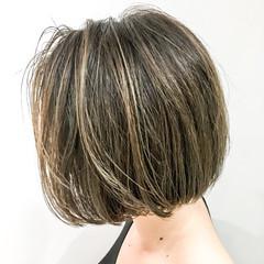 外国人風 ハイライト ボブ グラデーションカラー ヘアスタイルや髪型の写真・画像