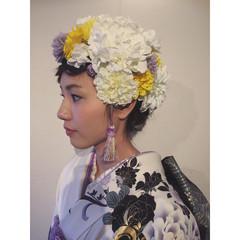 ロング 成人式 着物 編み込み ヘアスタイルや髪型の写真・画像