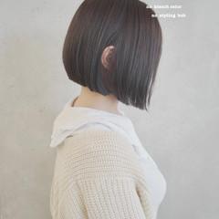 ナチュラル インナーカラー ショートボブ ミニボブ ヘアスタイルや髪型の写真・画像