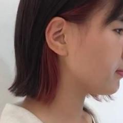 イヤリングカラー モード ボブ ピンク ヘアスタイルや髪型の写真・画像