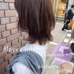 ナチュラル 透明感カラー 大人ミディアム レイヤースタイル ヘアスタイルや髪型の写真・画像