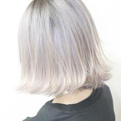 ミディアム 外国人風 ハイトーン ホワイト ヘアスタイルや髪型の写真・画像