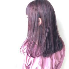 ラベンダーピンク デート ナチュラル ツヤ髪 ヘアスタイルや髪型の写真・画像