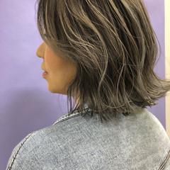 大人ハイライト バレイヤージュ フェミニン ボブ ヘアスタイルや髪型の写真・画像