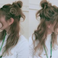 ロング ゆるふわ 大人かわいい ハーフアップ ヘアスタイルや髪型の写真・画像