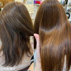 クセ セミロング オレンジベージュ 艶髪 ヘアスタイルや髪型の写真・画像